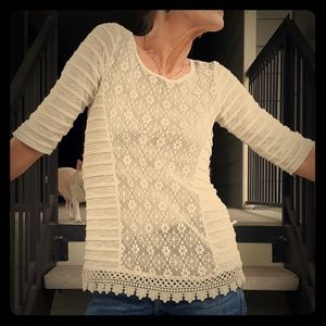 Faded Glory Sleeved Knit/Lace Top